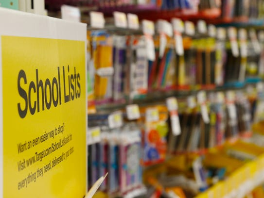 An end cap that contains school supply lists sent in