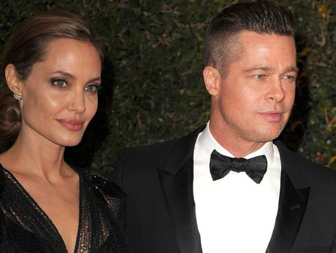 Angelina Jolie and Brad Pitt arrive at the Academy of Motion Picture Arts and Sciences' Governors Awards in Hollywood on Nov. 16.