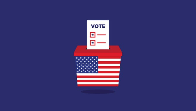 USA Election ballot vote box, flat design vector illustration