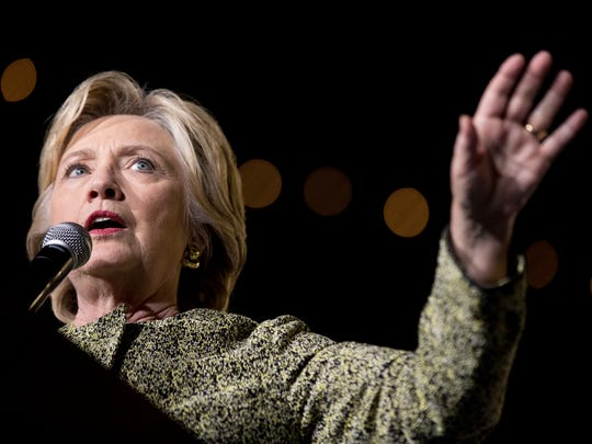 Democratic presidential candidate Hillary Clinton speaks at a rally at the Smith Center for the Performing Arts in Las Vegas on Wednesday.