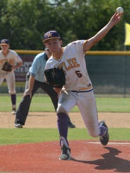 Reed Hughes throws a pitch during the Wylie Junior