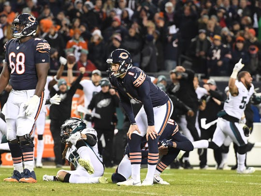 Bears kicker Cody Parkey reacts after missing a field goal in the final seconds of a 16-15 loss to the Eagles.