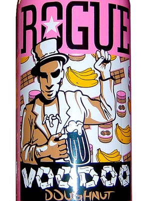 Voodoo Doughnut beer from Rogue Ales of Newport, Ore., is 5.3 percent ABV. The bright pink 750 ml bottle certainly stands out among its competition. Its makeup is also unique - a chocolate, peanut butter and banana ale.