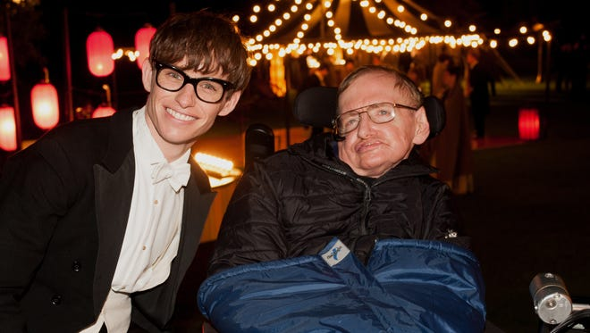 Stephen Hawking with actor Eddie Redmayne.