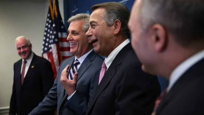 U.S House Majority Leader Rep. Kevin McCarthy and Speaker of the House John Boehner in Washington on Sept. 29, 2015.