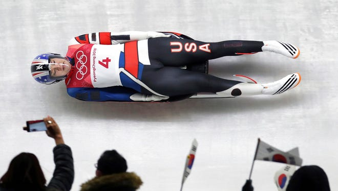 Summer Britcher of the United States competes in her first run during the women's luge competition at the 2018 Winter Olympics in Pyeongchang, South Korea, Monday, Feb. 12, 2018.