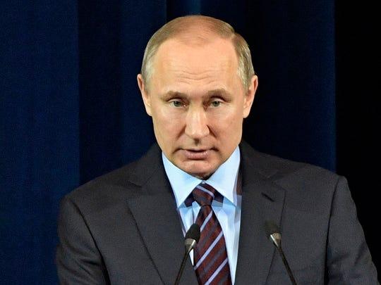 Russian President Vladimir Putin speaks at the Kremlin