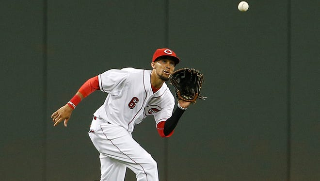 Reds center fielder Billy Hamilton runs down a line drive off against the D'backs on July 28.
