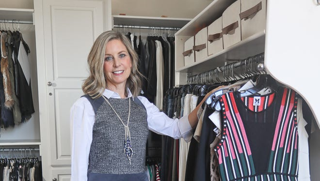 Professional organizer Tracy Varga in her walk-in closet.