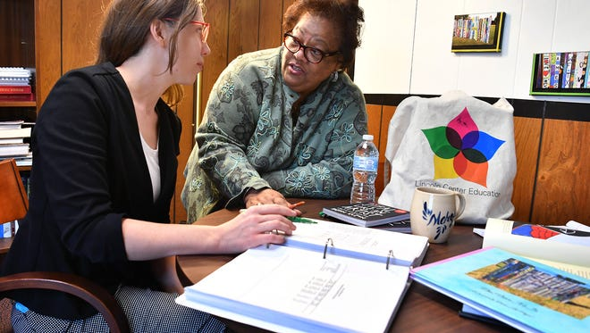 Margie Reese, right, executive director of Wichita Falls Alliance for Arts and Culture, talks with teaching artist Audra Lambert about the upcoming Lincoln Center Education Summer Forum coming to Midwestern State University in May.