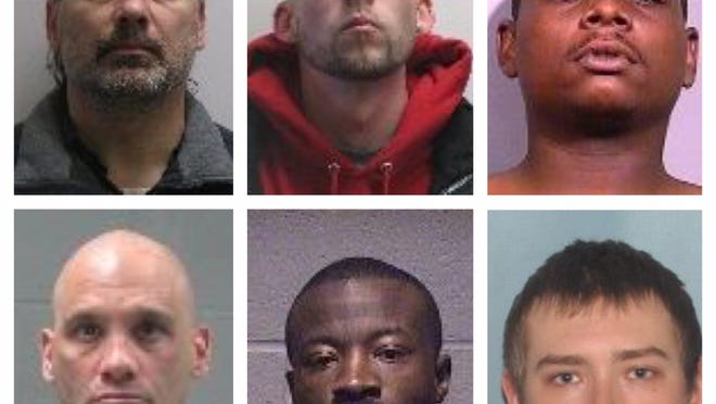 Authorities are searching for six sex offenders who were not compliant in updating their addresses with the Richland County Sheriff's Office. Top row from left, David Moore, Joshua Plenge and Cardin Matthews; bottom row from left, Jacob Horner, Robert Currie and Shane Persinger.