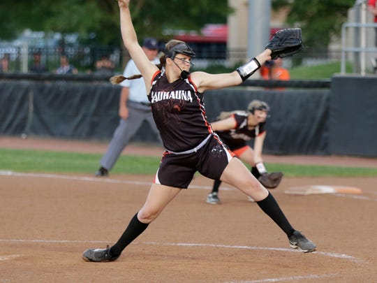 Kaukauna's Haley Hestekin throws a pitch against Wilmot during the Division 1 state championship softball game in Madison.