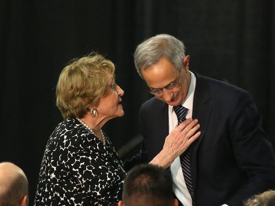 Congresswoman Louise Slaughter, D-Fairport, greets