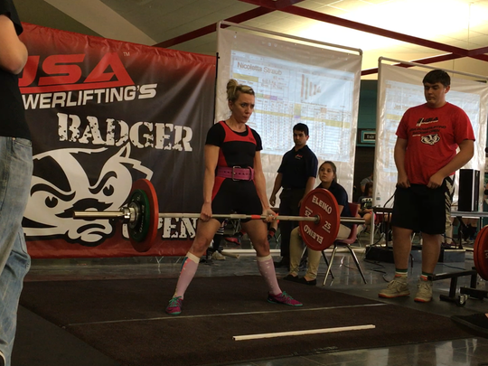 Jessica Rangel competed in the 2016 Badger Open and will return there in a few weeks for a power lifting competition. She can deadlift over 300 pounds.