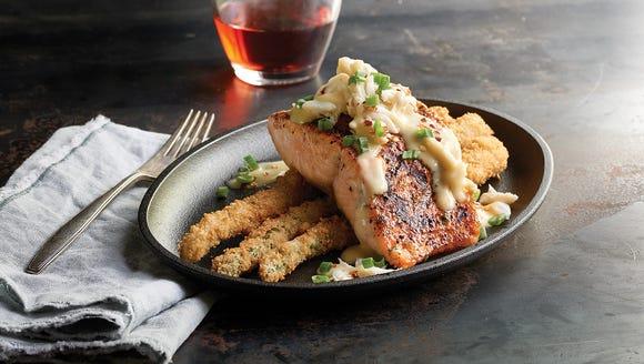 The salmon Oscar at Saltgrass Steak House is a truly