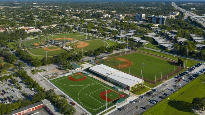 The Miracle League baseball field (lower left) and a new full-sized regulation baseball field (lower right) are part of a $3.3 million expansion of the baseball complex at Gardens Park.