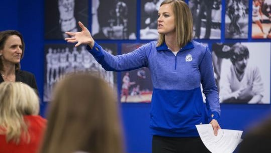 Drake women's basketball coach Jennie Baranczyk at the Drake University basketball complex Wednesday, Dec. 16, 2015, in Des Moines.