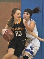 Bellevue sophomore Kierstyn Ratterman drives to the