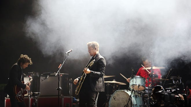 BYRON BAY, AUSTRALIA - JULY 25:  (L-R) Daniel Kessler, Paul Banks and Sam Fogarino of Interpol perform on stage at Splendour In the Grass 2014 on July 25, 2014 in Byron Bay, Australia.  (Photo by Mark Metcalfe/Getty Images)