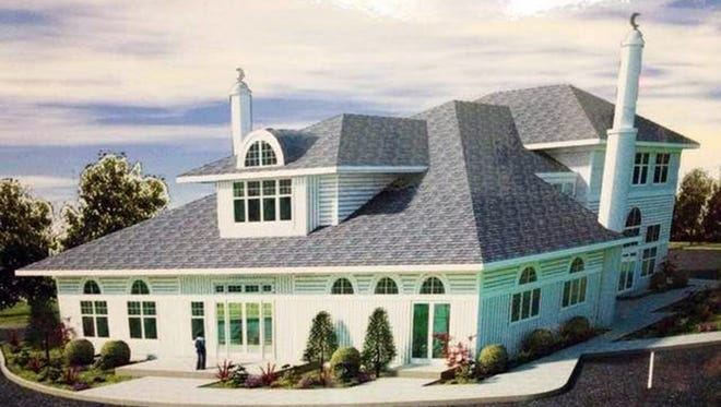 A rendering of the Islamic Society of Basking Ridge's mosque in Bernards Township, N.J., shows a design that is not traditional with two small minarets that will not have places for a muezzin to call Muslims to prayer.