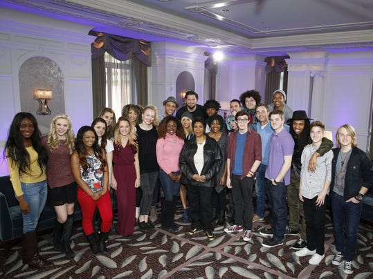 American Idol contestants meet Aretha Franklin at the Westin Book Cadillac in Detroit