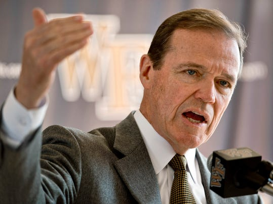 Wake Forest athletic director Ron Wellman talks to reporters about the resignation of men's basketball coach Jeff Bzdelik, Thursday, March 20, 2014, in Winston-Salem, N.C. (AP photo/Winston-Salem Journal, Walt Unks)