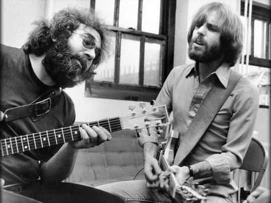 Jerry Garcia and Bob Weir of The Grateful Dead.