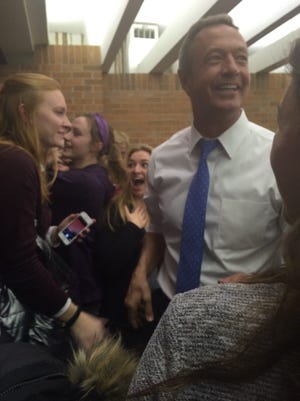 Martin O'Malley showed up at Brandi Dye's caucus site on Monday.