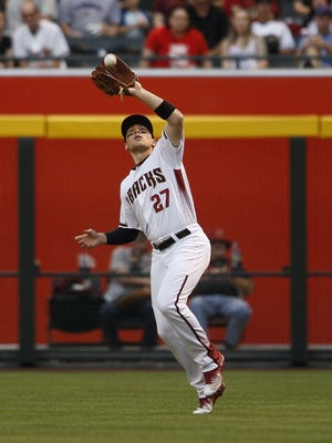 Arizona Diamondbacks' Brandon Drury catches a ball as the Arizona Diamondbacks face off against the St. Louis Cardinals on Wednesday, April 27, 2016, at Chase Field in Phoenix, Ariz.