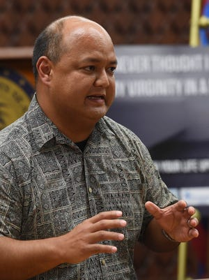 Guam Department of Education Superintendent Jon Fernandez speaks during a Mandaña Drug Task Force press conference at the Ricardo J. Bordallo Governor's Complex in Adelup on Sept. 1, 2017.