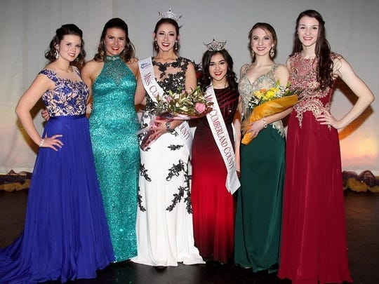 Sarah Pepitone of Millville (third, from left), Miss Cumberland County 2017, is pictured with Olivia Cruz (third, from right), Miss Cumberland County 2016, and the other contestants following the pageant held on Feb. 4 at Cumberland Regional High School in Seabrook.