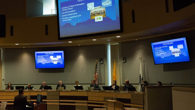 Robert Nuñez, the recreation and your services administrator, speaks to the Las Cruces City Council, Monday October 9, 2017, about the Teen Activities Programs and Teen Board.