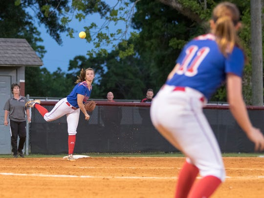 Third baseman Kenna Coleman (7) throws to first for
