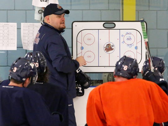 Greenville Swamp Rabbits Coach Brian Gratz instructs