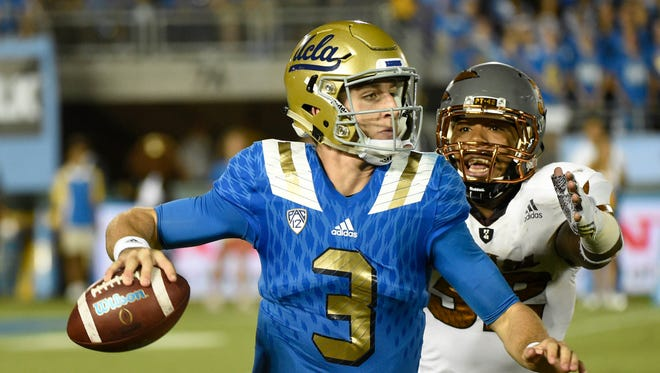 Oct 3, 2015; Pasadena, CA, USA; As a true freshman last season, UCLA quarterback Josh Rosen threw for 3,668 yards and 23 TDs.
