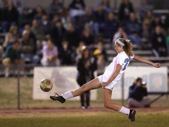 Maclay's Edy Rash kicks the ball down field against Rocky Bayou Christian in the Marauder's 2-1 District 1-1A championship win on Friday, Jan. 26, 2018.