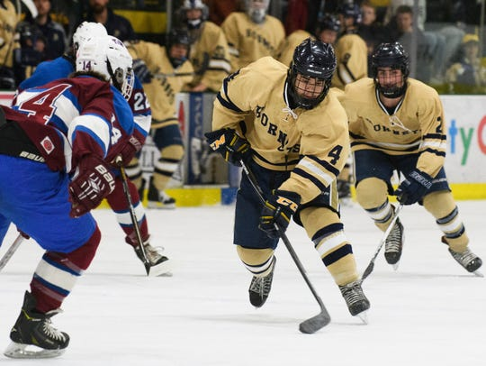 Essex's Waylon Almeida (4) skates with the puck during
