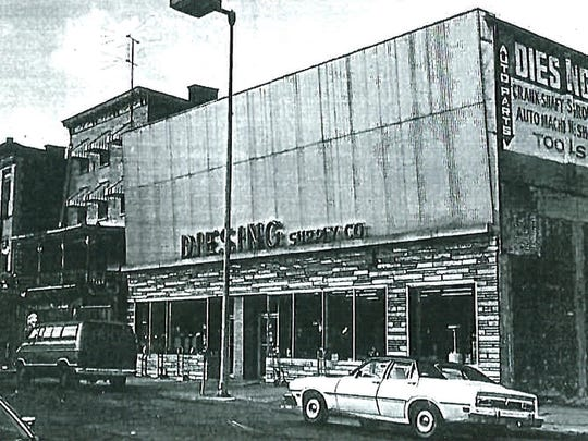 This 1970s image shows the Poughkeepsie Trolley Barn occupied by Diesing Auto Supply Company. To its west is a hotel (now gone) and the building now used for Art Centro, part of the Mid-Hudson Heritage Center.