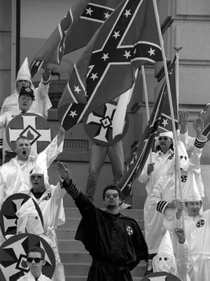 About 29 members of the Ku Klux Klan rallied Oct. 1, 1994, at the Tippecanoe County Courthouse. Community leaders had worked to get people to ignore the rally and instead attend events held by a group called Greater Lafayette Race Unity Coalition.