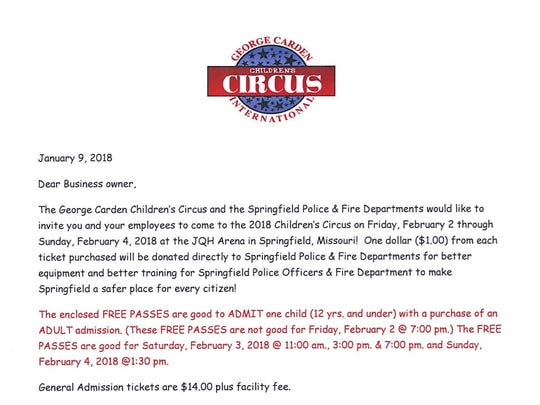 """A screenshot of the letter from Carden International Circus that city officials regard as """"misrepresenting"""" the police and fire departments."""