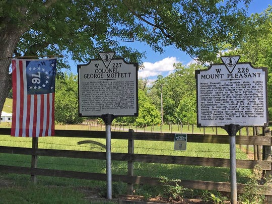 Two state historical highway markers are located at the Mount Pleasant rest stop on the ride. The theme for this rest stop on the Middle River is the Revolutionary War.
