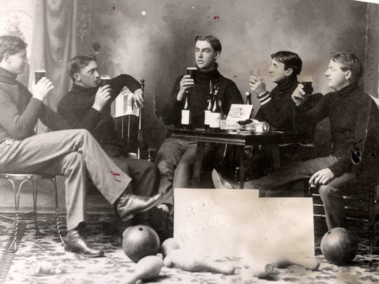 """Plymouth bowlers, team name the Red Reubens in 1903, """"After the game."""""""