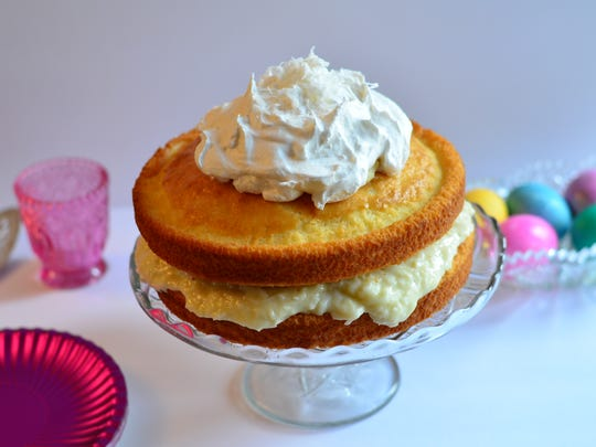 This Naked Coconut Cream Cake is easy to make and inspired