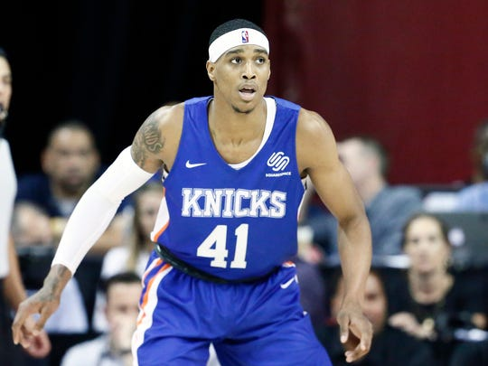 LAS VEGAS, NV - JULY 7: Kenny Wooten #41 of the New York Knicks handles the ball during the game against the the Phoenix Suns during Day 3 of the 2019 Las Vegas Summer League on July 7, 2019 at the Thomas & Mack Center in Las Vegas, Nevada.