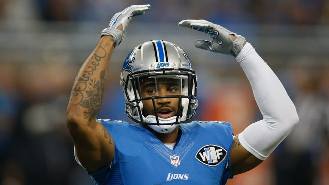 Darius Slay #23 of the Detroit Lions tries to pump the crowd up during the game against the Philadelphia Eagles at Ford Field on November 26, 2015 in Detroit, Michigan. (Photo by Gregory Shamus/Getty Images)