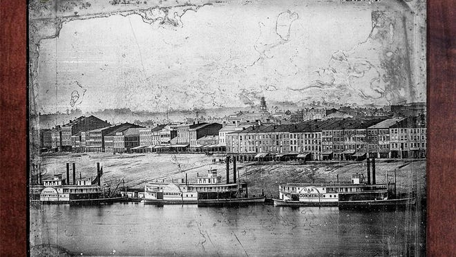 Steeling Cincinnati recreates the eight original 8.5-by-6.5 daguerreotype plates as eight 20-by-16 panels. The complete Cincinnati panorama will be more than 16 feet long.