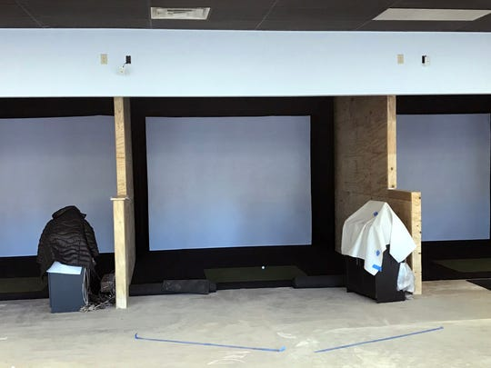 The owners of Stix Golf Entertainment in Germantown have begun construction at the golf simulation bar. Pictured are the three Full Swing golf simulators. Each one is right- and left-handed compatible. The simulators s have 85 championship courses and 20 arcade-style games. Each area will have four theater style seats