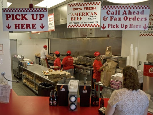 The kitchen at the Five Guys restaurant in Chantilly, Virginia.