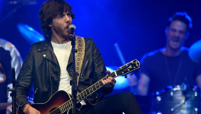 Chris Janson performs during the All for the Hall fundraiser for the Country Music Hall of Fame and Museum at Bridgestone Arena on April 12, 2016, in Nashville.