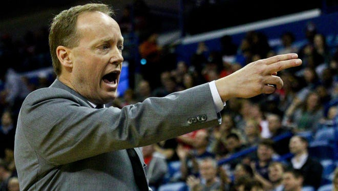 Feb. 2, 2015: Atlanta Hawks head coach Mike Budenholzer against the New Orleans Pelicans during the first quarter of a game at the Smoothie King Center.